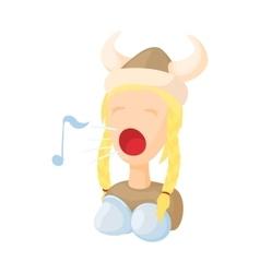 Opera singer icon in cartoon style vector image