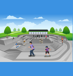 people playing skateboard vector image