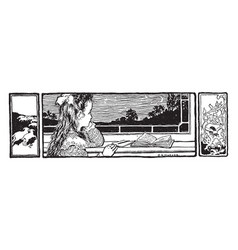 reading at window homework vintage engraving vector image