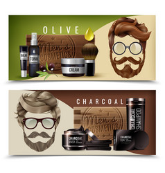 Realistic male cosmetics banners vector