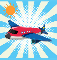 Red airplane flying in sky vector