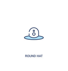 Round hat concept 2 colored icon simple line vector