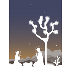 saint family and the joshua tree cactus and vector image