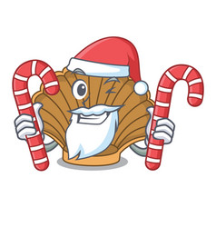 Santa with candy shell with pearl mascot cartoon vector