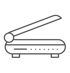 Scanner thin line icon document scan vector