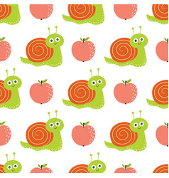 seamless pattern with apples and snails vector image