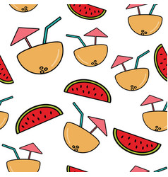 seamless pattern with cocktail in half coconut vector image