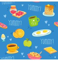 Seamless pattern with various breakfast products vector image