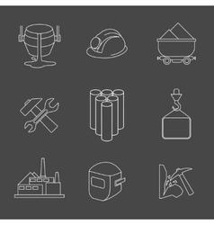 set heavy industry line icons vector image
