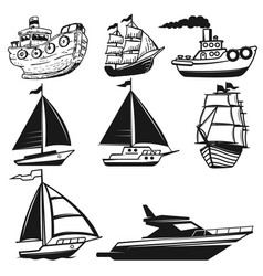 Set of boat yachts isolated on white background vector