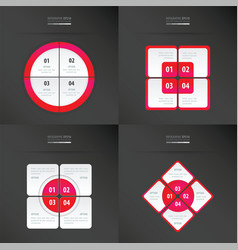 Set of presentation template neon pink color vector