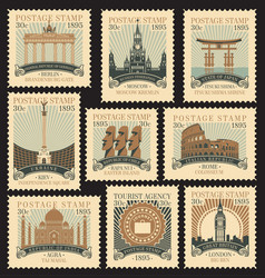 Set postage stamps on travel theme vector