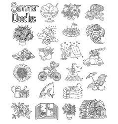 set with summer doodles vector image