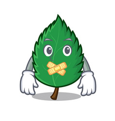 silent mint leaves mascot cartoon vector image