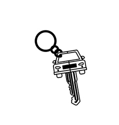 Silhouette key ring in car shape vector