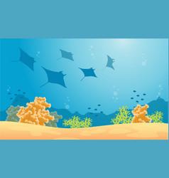 Silhouette of stingray and fish sea landscape vector
