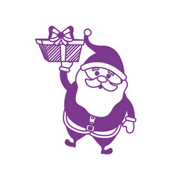 silhouette santa claus with suit christmas and vector image