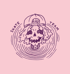 skeleton in a cap skateboard label for typography vector image