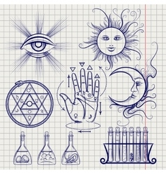 Sketch isoteric and alchemy elements vector