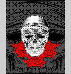 Skull wearing bandana with rose vector
