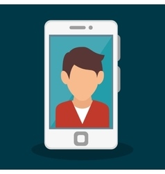 Smartphone with person icon vector