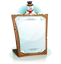 snowman holding christmas background vector image