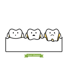 Step of gum disease - cartoon outline style vector