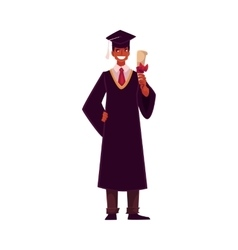 Student wearing traditional graduation gown and vector