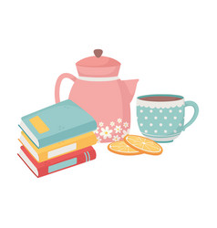Sweet home stack books kettle coffee cup sliced vector
