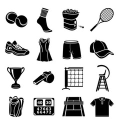 Tennis icons set simple style vector