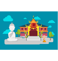 thai temple flat culture background vector image