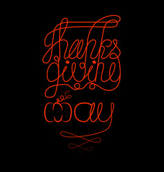 thanksgiving day in canada lettering with the vector image