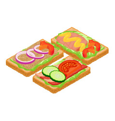 Toast icon isometric style vector
