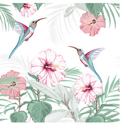tropical vintage hibiscus plumeria floral pattern vector image