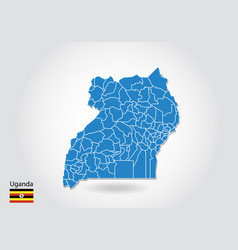 uganda map design with 3d style blue uganda map vector image
