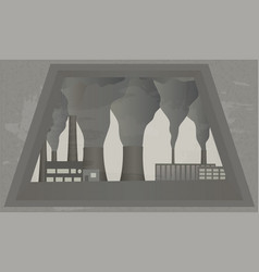 view from window at smoking chimneys of plant vector image