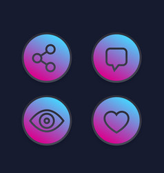 View share like comment line icons vector
