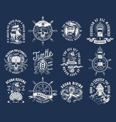 vintage nautical prints vector image