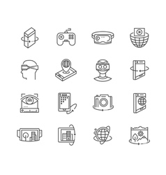Virtual reality technologies icon set vector