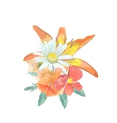 watercolor bouquet greeting card with lily vector image