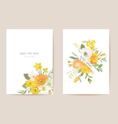 Wedding invitation spring flowers leaves floral vector