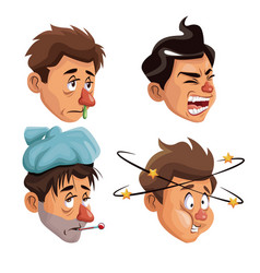 White background set faces sick people vector