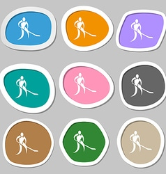Winter sport Hockey symbols Multicolored paper vector