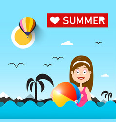 woman with beach ball on sea love summer with vector image