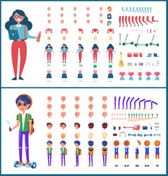 Young teenagers boy and girl icons set vector