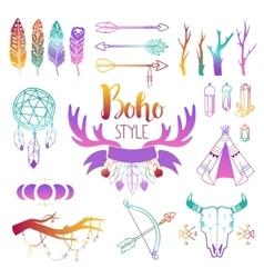 Boho symbols set vector image