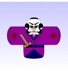 cartoon samurai vector image