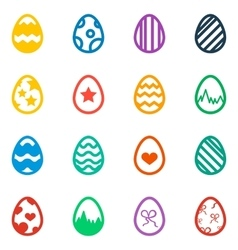 Icon set of colored Easter eggs Holiday icon vector image