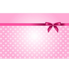 pink background with hearts pattern and bow vector image vector image