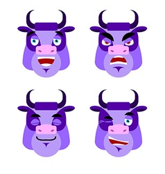 Purple cow Emotions Set expressions avatar bull vector image